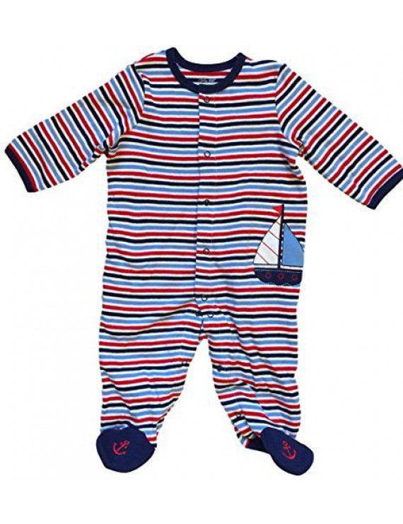 1 Piece Sleeper Red White & Blue Sailboat with Anchor Footies (Blue/White) (6M)
