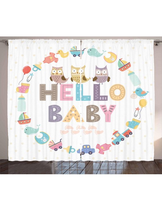 Baby Shower Curtains 2 Panels Set, Hello Baby Quote with Kids Elements and Funny Owl Birds Welcome Newborn Party, Window Drapes for Living Room Bedroom, 108W X 84L Inches, Multicolor, by Ambesonne