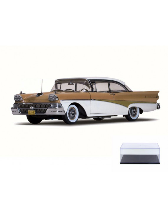 Diecast Car & Display Case Package - 1958 Ford Fairlane 500 Hard Top, White/Palomino Tan - Sun Star 5284 - 1/18 Scale Diecast Model Toy Car w/Display Case