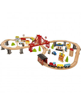 70Pcs Train Toy Set with 11 Accessories, 15'' x 3.5'' x 23.6'' DIY Solid Beech Wood Railway Train Learning Toy for 3-8 Years Old Boys, Road Toys w/4 Cars for Boys Girls Toddlers Birthday Gifts, S9340