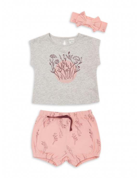 PL Baby by Petit Lem Baby Girl T-shirt, Bubble Shorts, & Bow Headband, 3-pc Outfit Set