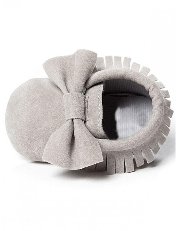Cute Baby Toddler Girl Tassel Solid Soft Sole bow-knot Frosted Shoes