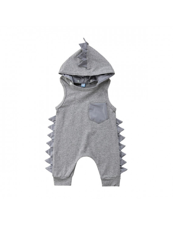Pudcoco 0-3Y Newborn Infant Baby Boy Girl Dinosaur Hooded Romper Jumpsuit Clothes Outfit