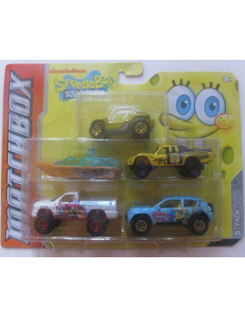 ** Spongebob Squarepants ** 5 Pack with Green/Orange Dune Buggy, By Matchbox Ship from US