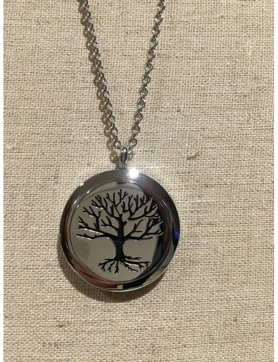 "Essential Oil Pendant hypo-allergenic 316L Surgical Grade Stainless Steel Diffuser Tree of Life Locket with 24"" Chain. 30mm sized locket"
