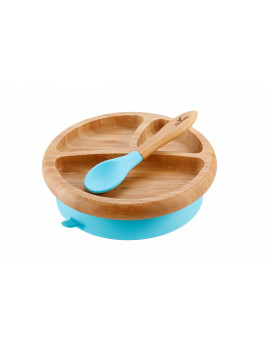 Avanchy Bamboo Stay Put Suction Baby Plate + Spoon Blue