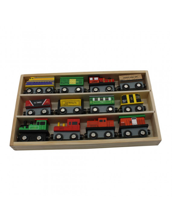 12pcs Wooden Train Set Kids Toddler Boys Girls Early Teaching Tool Baby Educational Train Car Toys