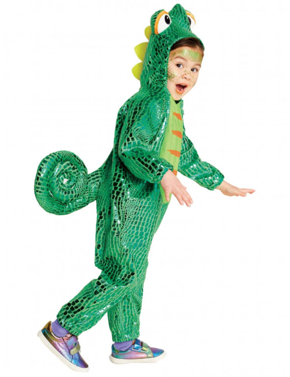 Infant & Toddler Boys Shiny Green Plush Chameleon Hooded Jumpsuit Costume