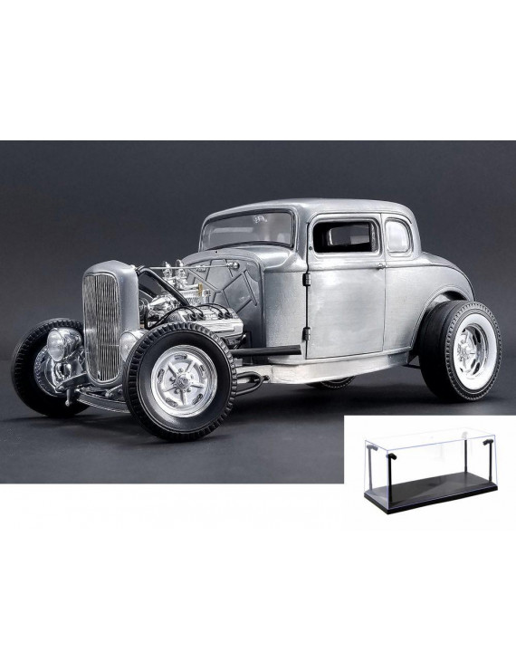 Diecast Car & LED Display Case Package - 1932 Ford 5 Window Hot Rod Coupe, Silver - Acme 1805013 - 1/18 Scale Diecast Model Toy Car w/LED Display Case