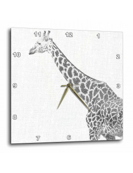3dRose Black and White Giraffe Sketch- Animals- Art, Wall Clock, 15 by 15-inch