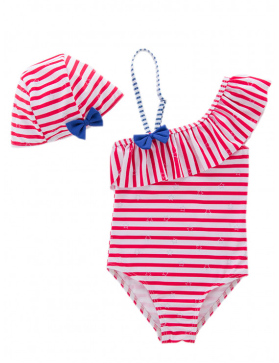 stylesilove Little Girls Striped Ruffle One Shoulder One-Piece Swimsuit With Hat 2 Pcs Set (3T, Red)