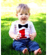 Noah's Boytique Baby Boy First Birthday Outfit Baseball Theme Party Shirt Black Bow Black Number One 6-12 Months
