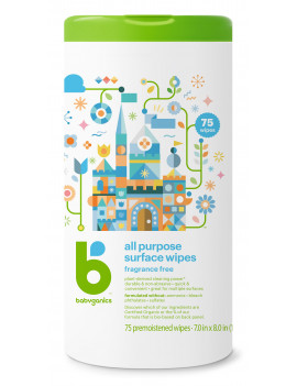 Babyganics All Purpose Surface Wipes, 75 Wipes