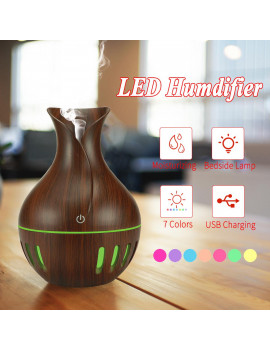 130ml Aroma Diffuser Humidifier, Mini Ultrasonic Cool Mist Essential Oil Diffuser Air Purifier Portable 7 Color LED Lights for Home, Office, Baby Room, Bedroom Gift