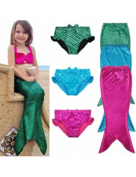 3PCS Girl Kids Mermaid Tail Shell Halter Swimmable Swimwear Swimsuit Beachwear Girls Bikini Set Bathing Suit Fancy Costume 3-8Y