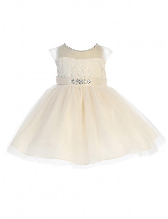 Baby Girls Champagne Illusion Neck Beaded Lace Belted Flower Girl Dress