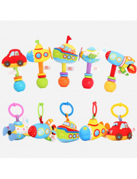 2Pcs Pull-Down Stroller Toy + Hand bell Baby Rattle Toys Car Seat Crib Bed Pram Plush Hanging Rattle Rocket