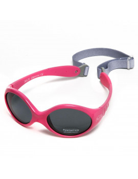 Baby Girl Sunglasses With Strap 100% UV Block (S: 6- 24 months, Hot Pink)