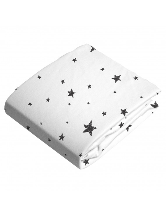 Kushies Crib Sheet Flannel Black & White Scribble Stars