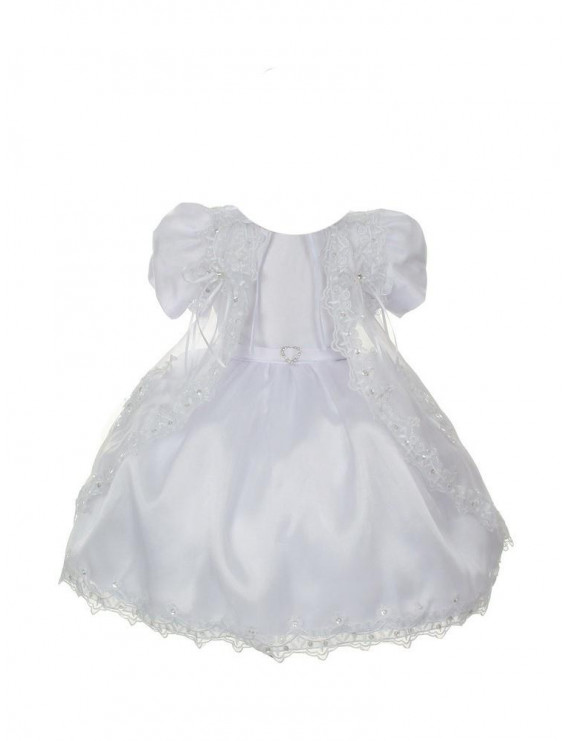 Rain Kids Baby Girls White Satin Sheer Organza Baptism Dress 3-24M
