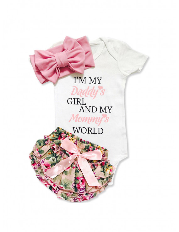 Baby Girl's Letter Print Bodysuit, Floral Allover Shorts and Bow Headband