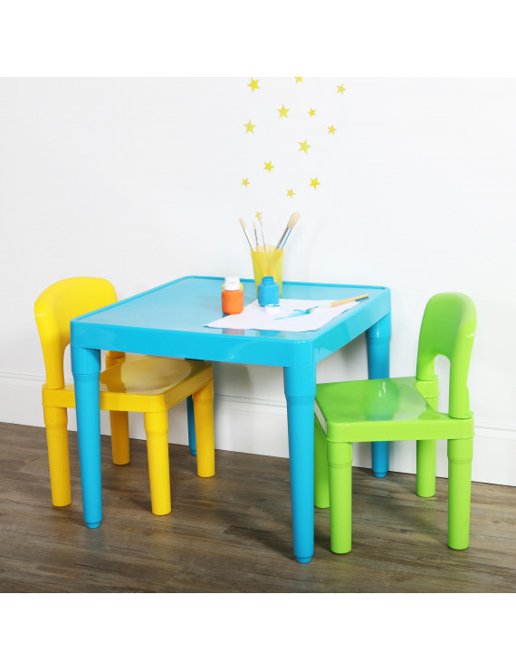 Tot Tutors Kids Plastic Table and 2 Chairs Set, Aqua/Green&Yellow
