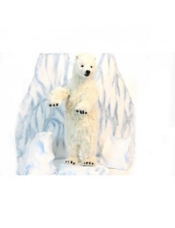 "39"" Handcrafted Standing Polar Bear Cub Stuffed Animal"