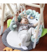 Unisex Baby Wooden Baby Play Gym Station with 3 Gym Toys , Infant Play Stand Activity Center Set, with Foldable Frame Hanging Bar ,Newborn Toddler Wood Playing Rack Home Fun