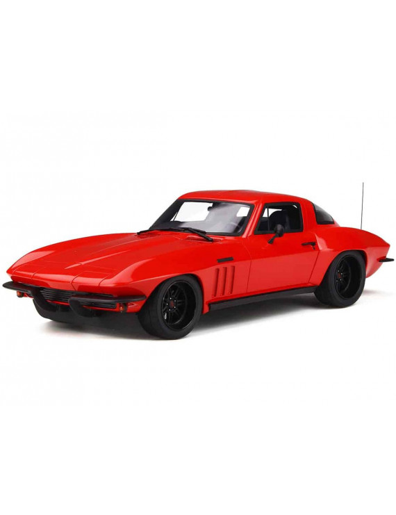 Chevrolet Corvette C2 Red with Black Wheels Limited Edition to 999 pieces Worldwide 1/18 Model Car by GT Spirit
