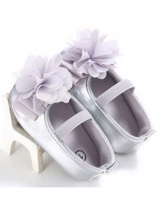 Fashion Princess Autumn Flower Shoes Baby Sweet Kids Girls Anti-skid PU Children Shallow First Walkers Shoes