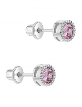 925 Sterling Silver 5mm Bezel Set Cubic Zirconia Screw Back Toddler Earrings
