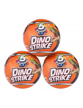 5 Surprise Dino Strike Surprise Mystery Battling Collectible Dinos (3 Pack) by ZURU