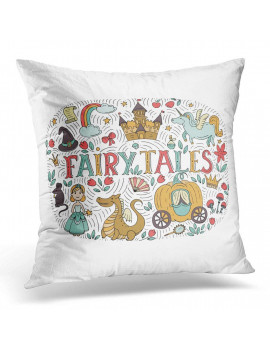 ARHOME Fairy Tales with Princess Dragon Castle Mouse Unicorn Rainbow Magic Hat Pumpkin Carriage Crown White Pillow Case Pillow Cover 20x20 inch