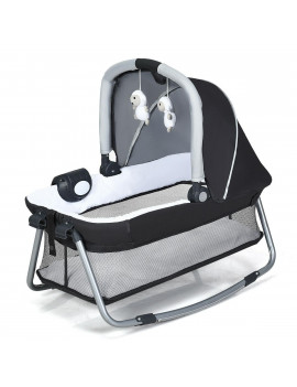 4 in 1 Convertible Portable Baby Playard w/ Toys & Music Center-Gray