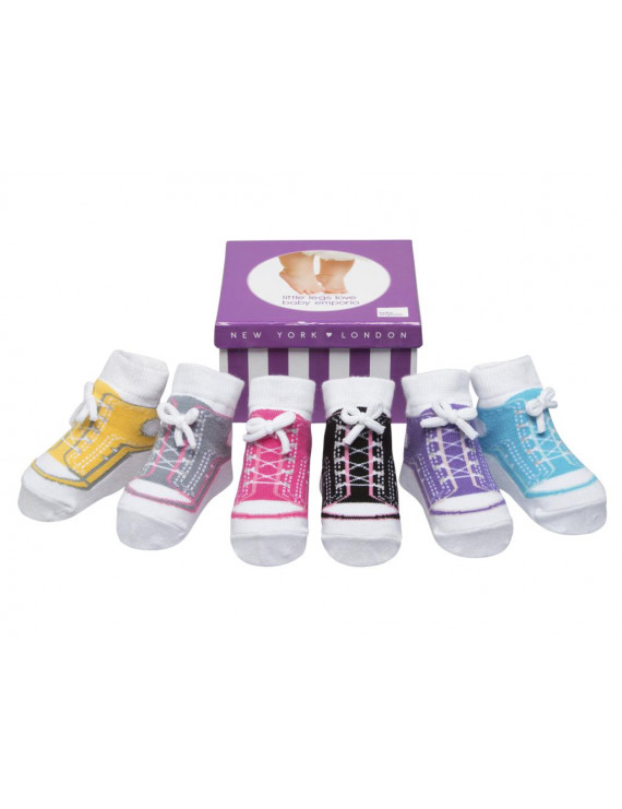 Baby Emporio-Baby girl socks that look like sneakers-6 pr-cotton-shoelaces-gift box-0-12 Months - GIRL SNEAKERS
