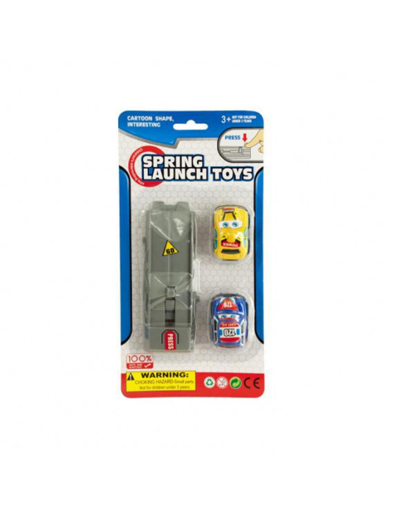 Press and Go Spring Launch Toy Cars Set - Set of 24