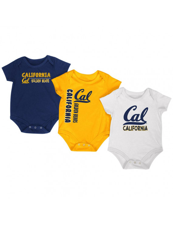 California Bears Colosseum Navy Gold White Infant One Piece Outfits - 3 Pack