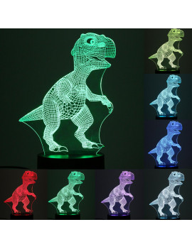 3D Dinosaur LED Night Light 7 Color Change Table Desk Lamp Christmas Birthday Gift