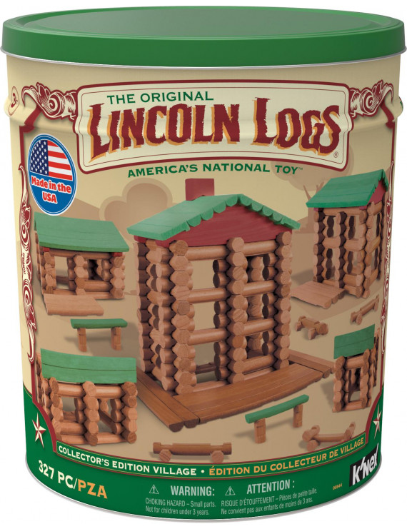 LINCOLN LOGS - Collector's Edition Village - 327 All Wood Pieces - Collectible Tin