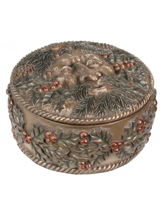Greenman Berries and Pine Cones Winter Jewelry Trinket Box Nature Green Man New
