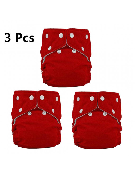 3Pack One size Cloth Diaper double hip snaps 6pcs Pack Fitted Pocket Washable