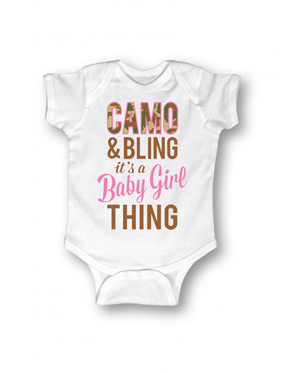 Camo And Bling Baby Girl Thing -Baby One Piece