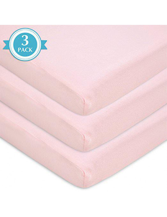 TL Care 3 Piece 100% Cotton Jersey Knit Fitted Pack N Play Playard Sheet, Pink