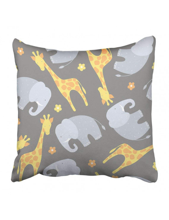 WOPOP Africa Giraffe and Elephant on Grey Pattern African Animal Baby Birthday Cartoon Character Child Pillowcase Pillow Cover 20x20 inches