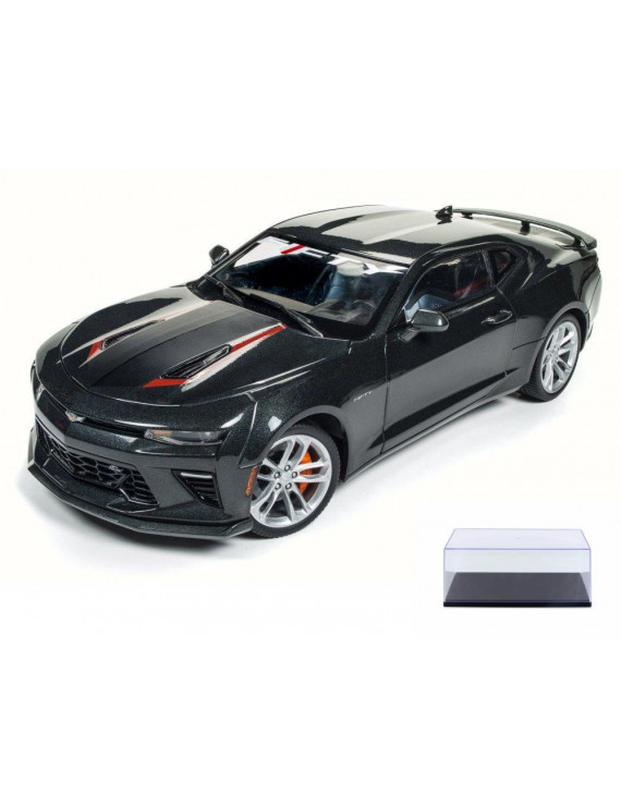 Diecast Car & Display Case Package - 2017 Chevy Camaro SS 50th Anniversary, Nightfall Gray - Auto World AW243 - 1/18 Scale Diecast Model Toy Car w/Display Case