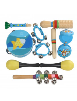 10 Pcs Kids Baby Roll Drum Musical Instruments Band Kit Children Toy Gift Set Baby Boy Girl Drum Set Musical Instruments Kids Band Kit Children Toy Gift