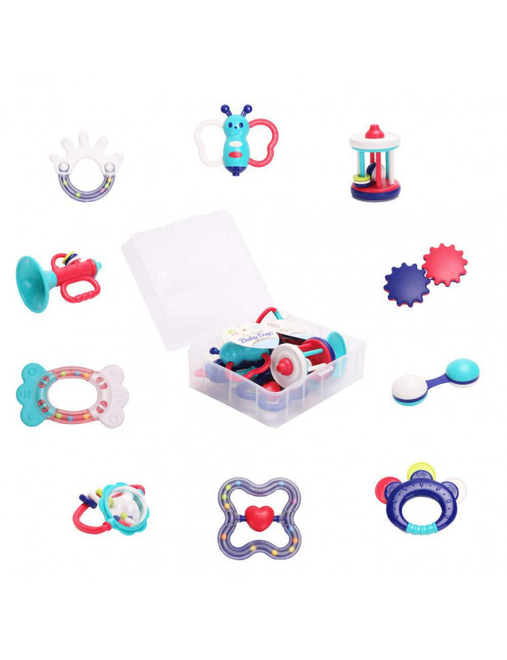 Rattle Teether Baby Toys - Baby 10pcs Shake and GRAP Baby Hand Development Rattle Toys for Newborn Infant with Storage Box Gift for 3 6 9 12 18 Month