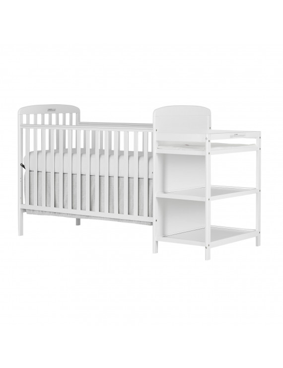 Dream On Me Anna 4 in 1 Full Size Crib and Changing Table Combo In White