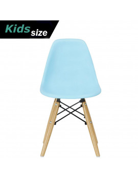 2xhome - Blue - Kids Size Plastic Side Chair Blue Seat Natural Wood Wooden Legs Eiffel Childrens Room Chairs No Arm Arms Armless Molded Plastic Seat Dowel Leg