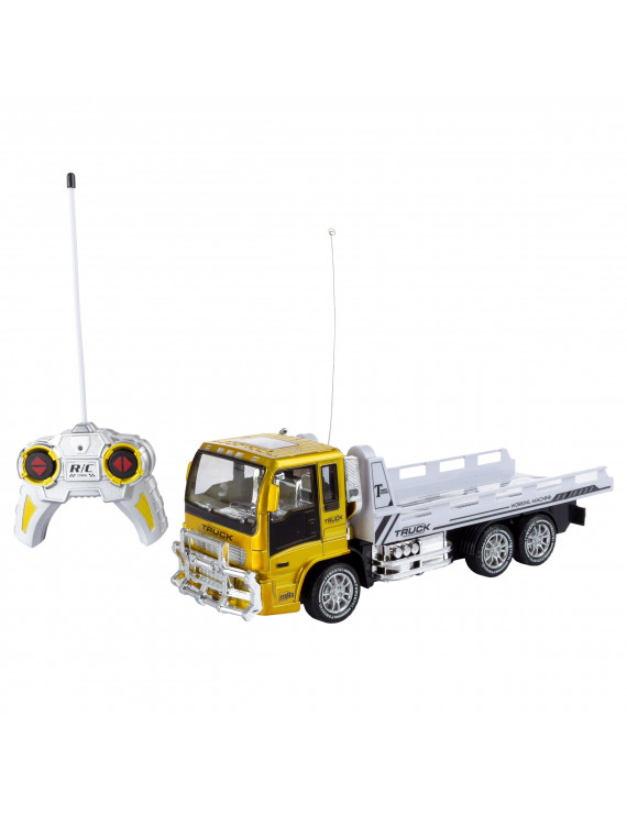 Remote Control Flatbed Truck– 4 Channel Fully Functional RC Tractor Trailer by Hey! Play!